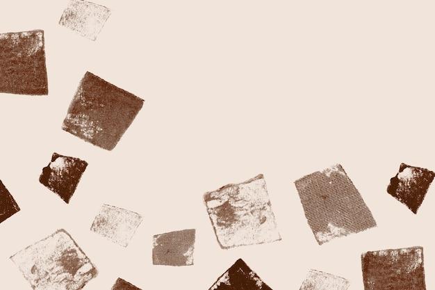 Bruine blokdrukachtergrond met ongelijke vierkante stempel