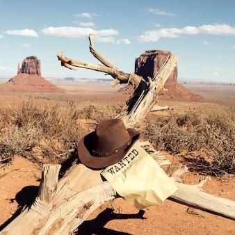 Bruine cowboyhoed voor monument valley, vs.
