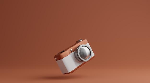 Bruine en witte camera over bruin achtergrondfotografieconcept. 3d-weergave