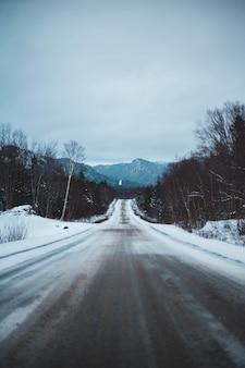 Bruine en witte weg in de winter