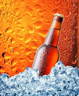 Bruine flesje bier in het ijs