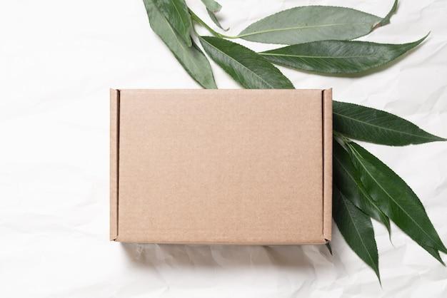 Bruine kartonnen kartonnen doos met ecologisch pakket met verse boomtak