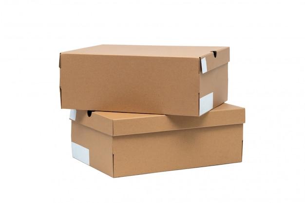 Bruine kartonnen schoenenbox met deksel voor schoen- of sneakerproduct