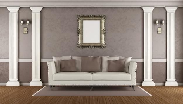Bruine klassieke woonkamer met elegante bank