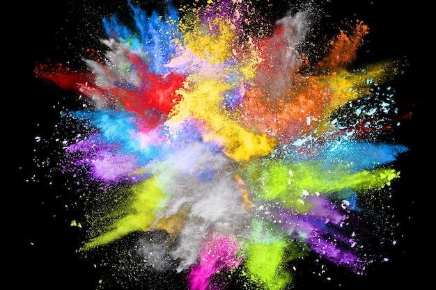 Bruine kleur poeder explosie op witte achtergrond