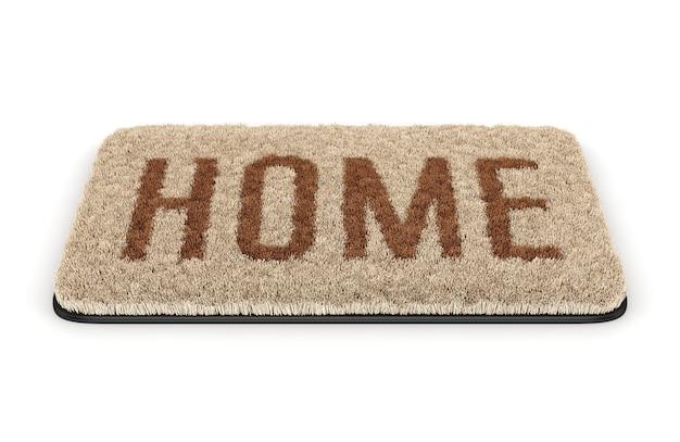 Bruine kokos deurmat met tekst home geïsoleerd op een witte achtergrond
