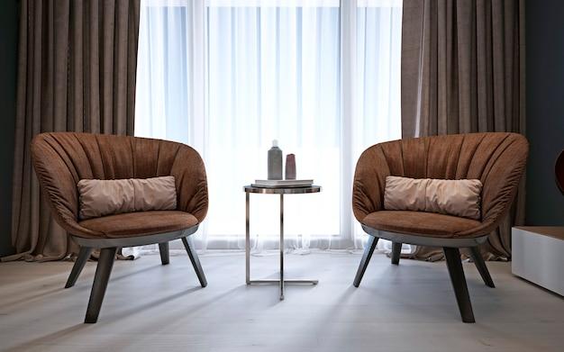 Bruine moderne comfortabele fauteuils in de slaapkamer. 3d-rendering