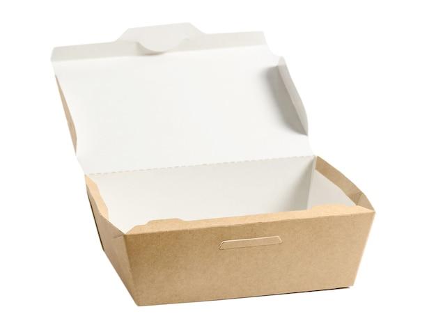Bruine papieren voedseldoos met open deksel geïsoleerd op wit, gebruikt in fastfoodverpakkingen.