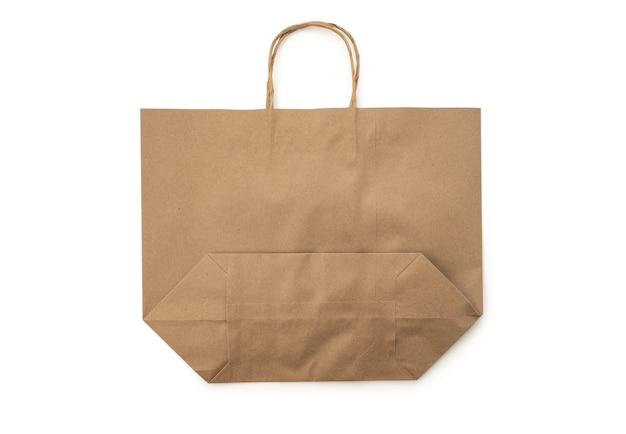 Bruine papieren zak markt op witte achtergrond