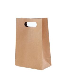 Bruine papieren zak op wit