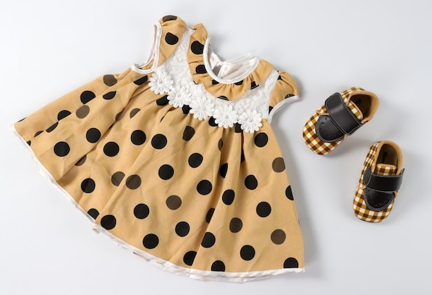 Bruine polka dots baby baby pasgeboren kind meisje kleding set met geruite schoenen