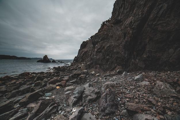 Bruine rotsachtige berg dichtbij watermassa overdag