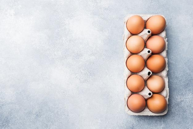 Bruine ruwe kippeneieren in fabrieks verpakking op grijze achtergrond. ruimte kopiëren