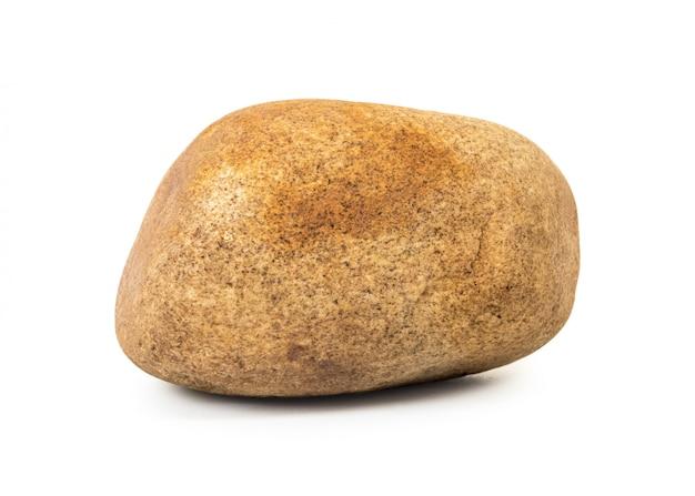 Bruine steen die op witte achtergrond wordt geïsoleerd.