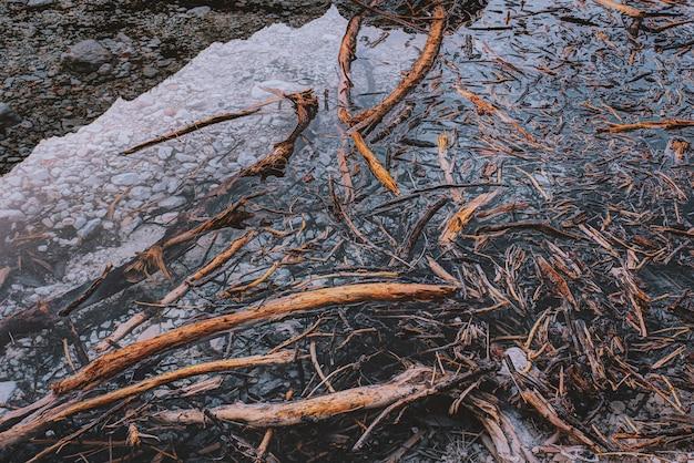 Bruine takjes op water
