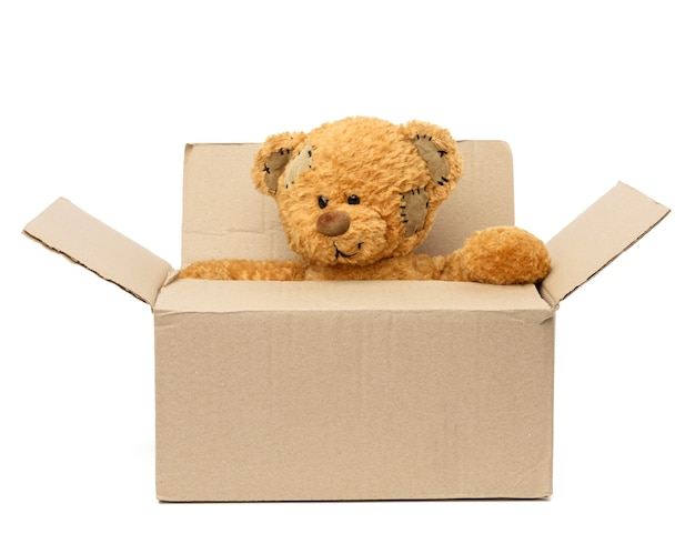 Bruine teddybeer zit in een grote bruine kartonnen doos, concept van verhuizen of vrijwilligerswerk