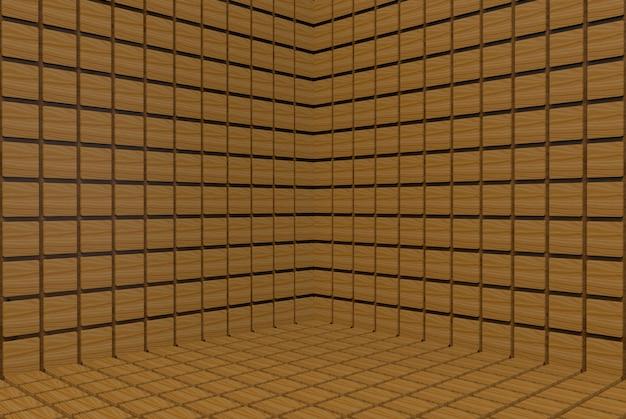 Bruine vierkante tegels muur hoek achtergrond