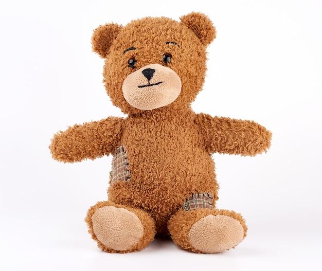 Bruine vintage teddybeer met patches