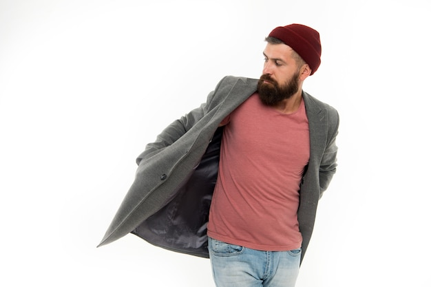 Brutale kaukasische hipster met snor. rijpe hipster met baard. bebaarde man. mannelijke kapper zorg. mode man met baard. serieuze man geïsoleerd op wit, kopieer ruimte.