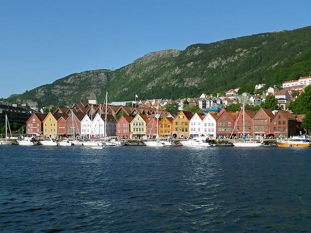 Bryggen hanseatic wharf, unesco-werelderfgoed in bergen, noorwegen