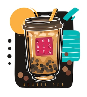 Bubbelthee. populaire taiwanese zoete drank bubbelthee, aziatische parelmelk boba met ballen, beroemde zomer aziatische milkshake vloeibaar dessert, cartoon plastic afhaal glas promo vector poster