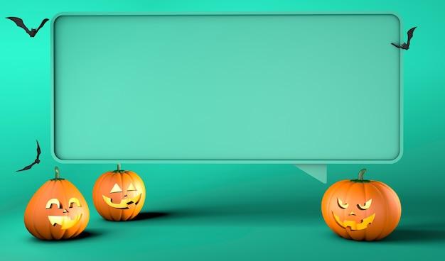 Bubble sjabloon en pompoenen met lachende en boze gezichten op een groene achtergrond halloween