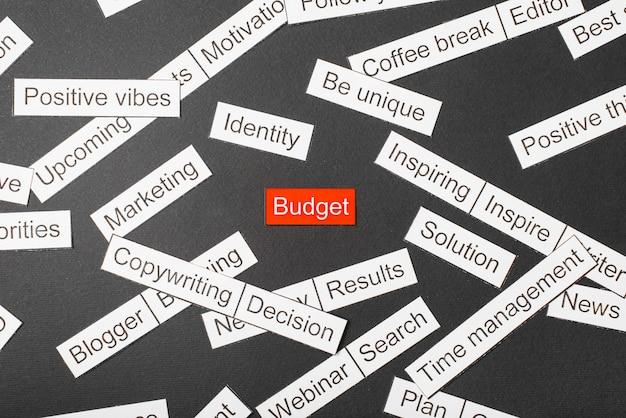 Budget inscriptie omringd door andere inscripties
