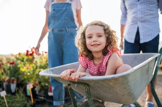 Buik van senior grootouders die kleindochter in kruiwagen duwen bij het tuinieren in tuincentrum.