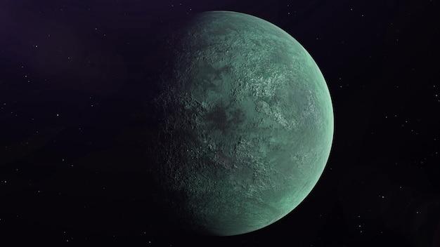 Buitenaardse planeet in de ruimte roterend en wegdrijvend, sterren op de achtergrond. 3d-rendering.
