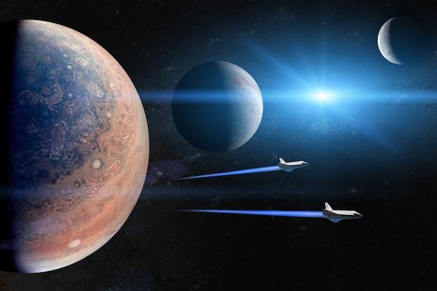 Buitenaardse planeten met spaceshuttles die op missie gaan