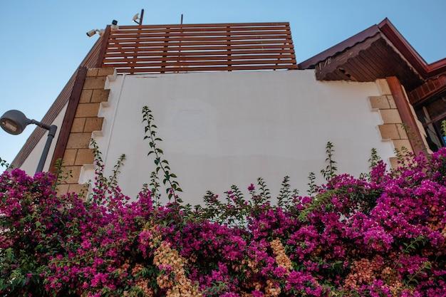 Buitenkant van de gebouwen. de gevel van het moderne gebouw is versierd met verse gekrulde bloemen. huis exterieur ontwerpconcept.