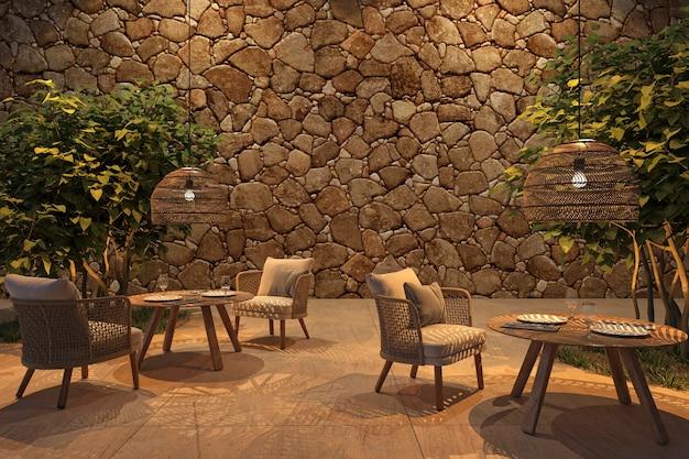 Buitenterrascafé in scandinavische stijl met rieten meubels en bomen 3d render illustratie