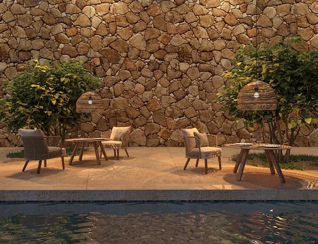 Buitenterrascafé in scandinavische stijl met zwembad en bomen 3d render illustratie