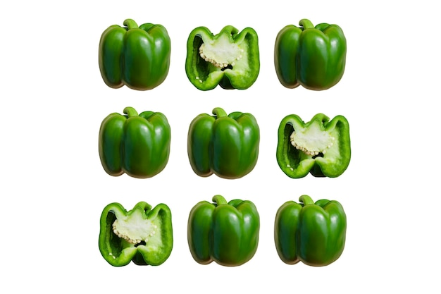 Bulgaarse groene peper op witte achtergrond mocap