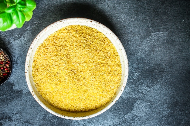 Bulgur verpulverde rauw graan