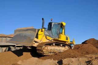 Bulldozer op de werkplek