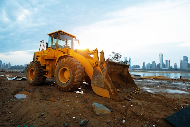 Bulldozer op een bouwterrein