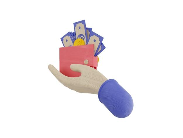 Bundels contant geld en drijvende munten instellen pictogrammen blauw roze achtergrond 3d illustratie