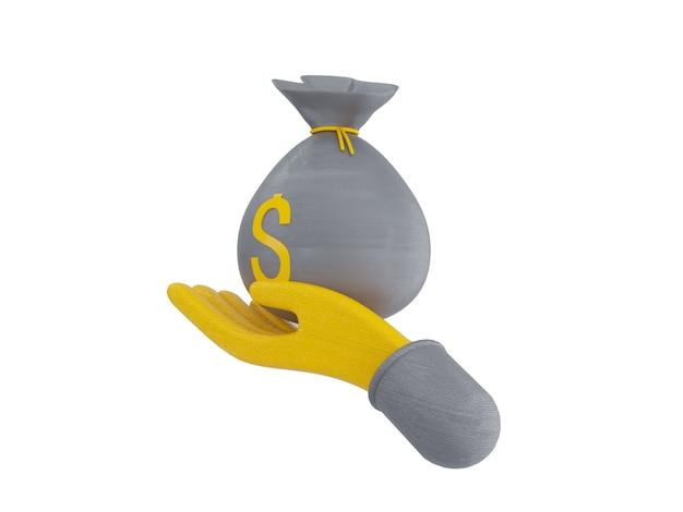 Bundels contant geld en drijvende munten instellen pictogrammen geel op grijze achtergrond 3d illustratie render