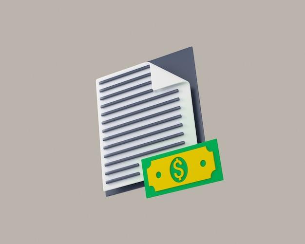 Bundels contant geld en drijvende munten set pictogrammen geïsoleerd op een witte achtergrond 3d illustratie