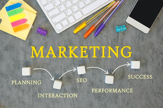 Bureau met accessoires - toetsenbord, smartphone en pennen. marketing mijlpalen concept