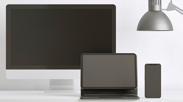 Bureauopstelling met apparaten