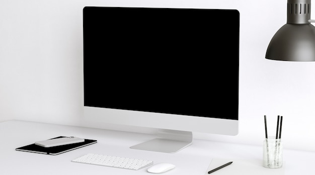 Bureauopstelling met monitor