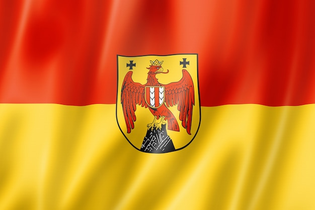 Burgenland land vlag, oostenrijk zwaaiende banner collectie. 3d illustratie