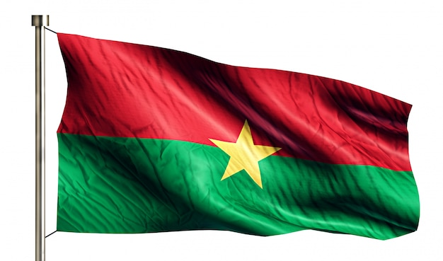 Burkina faso nationale vlag geïsoleerde 3d witte achtergrond