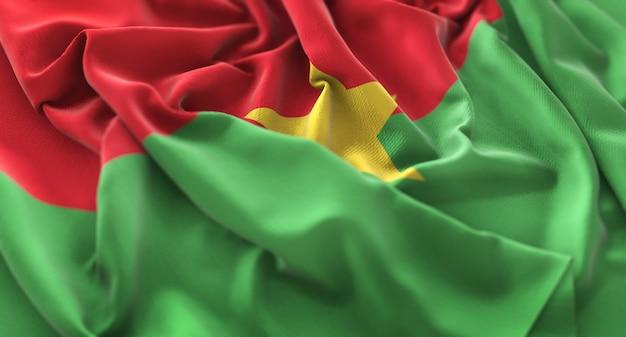 Burkina faso vlag ruffled mooi wapperende macro close-up shot