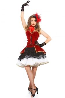 Burlesque. aantrekkelijke danser op hakken