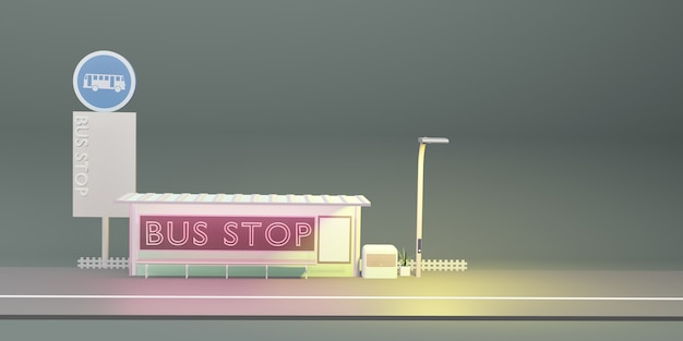 Bushalte cartoon stad openbaar vervoer 3d illustratie