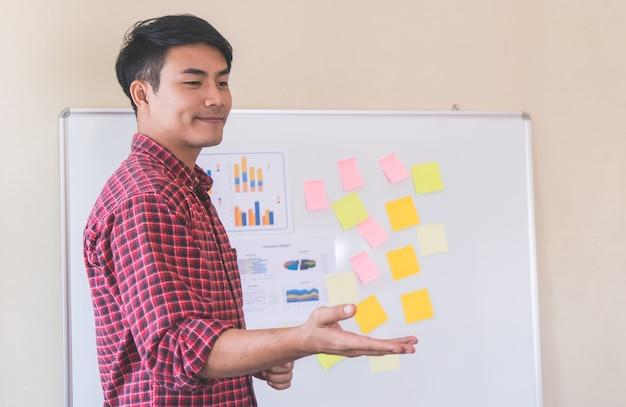 Business coach trainer geeft training aan de student