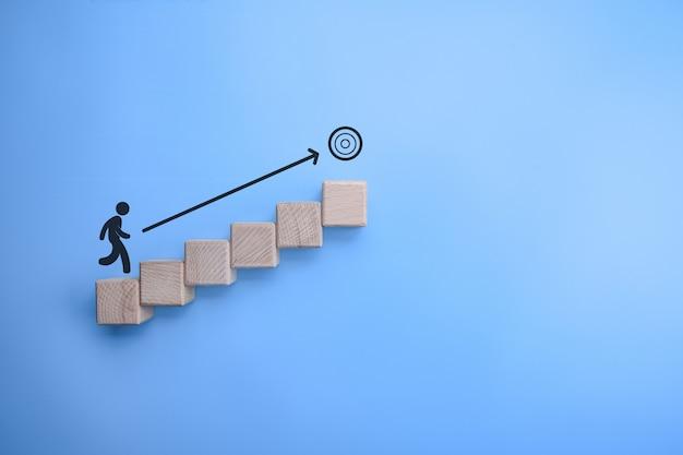 Business conceptuele doelgerichtheid, ambitie, weg naar het doel